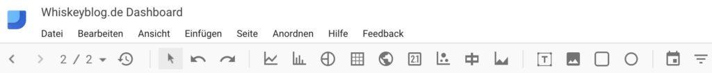 Google Data Studio hat eine überschaubare Werkzeugleiste, fürs erste ausreichend