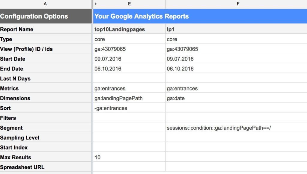 In Spreadsheets können GA Daten über die API frei konfigurierbar bezogen werden